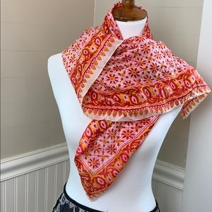 Gorgeous Boho Vintage Orange and Red Silky Scarf